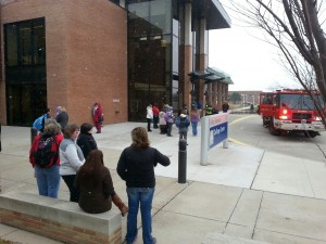 Students and workers at the college were evacuated from the College Commons building during an emergency fire alarm.