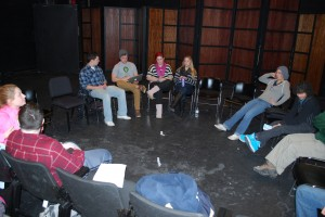 Students fill in the studio theater at Stocker center to learn the craft of acting.