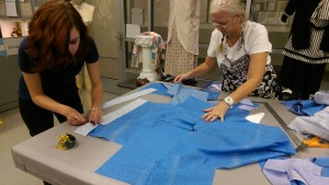 Diane Papp, Costume Shop Supervisor, and Katarina Roby, LCCC Student, working on a costume for upcoming play, 'The Diviners.'