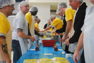 LCCC held The Hunger Attack on Jan. 21 to commemorate the life and service of Dr. Martin Luther King Jr. Volunteers from the college and community packaged over 4,400 healthy macaroni and cheese dinners to be distributed throughout the community.