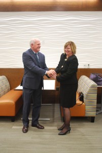 Charlotte Weiss | The Collegian Dr. Church and Dr. Ballinger shake hands following the announcement.